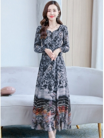 Retro Fashion 2 Colors Ink Flowers Chiffon Long Dress