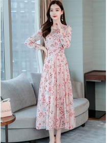 Charming Korea 3 Colors Tie Collar Flowers Long Dress