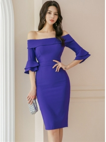 Grace Lady Boat Neck Flare Sleeve Bodycon Dress