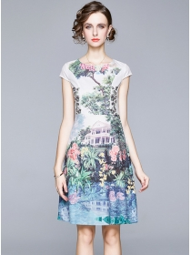 Modern Lady Round Neck Flowers A-line Dress