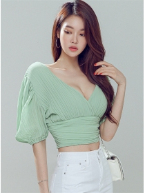 Summer Fashion V-neck Puff Sleeve Pleated Blouse