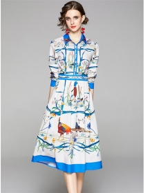 Europe Summer Flowers Shirt Collar Pleated Dress