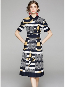 Modern Lady Color Block Flowers Shirt Collar Dress