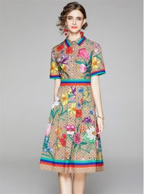 Vogue Lady Shirt Collar Flowrs Flouncing A-line Dress