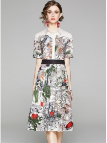 Retro Fashion Shirt Collar Flowers Short Sleeve Dress