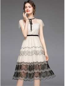 Retro Europe High Waist Dots Gauze Lace Dress
