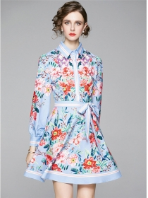 Autumn New Shirt Collar Tie Waist Flowers Puff Sleeve Dress