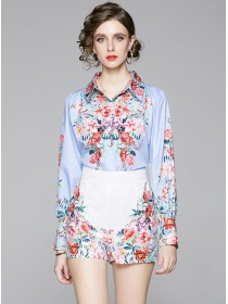 Stylish Loosen Flowers Blouse with High Waist Pants