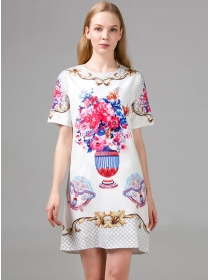 Wholesale Summer Round Neck Flowers Short Sleeve Dress