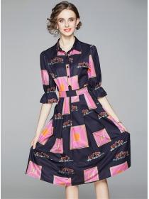 Fashion Europe Color Block Shirt Collar A-line Dress