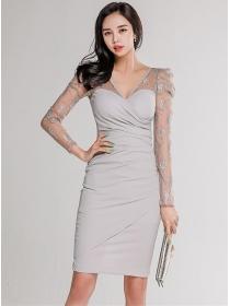Sexy OL Gauze Flowers Sleeve V-neck Skinny Dress