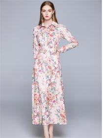 Retro Charming High Waist Shirt Collar Flowers Maxi Dress