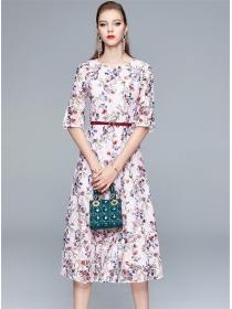 Grace Fashion Flare Sleeve Flowers Lace A-line Dress
