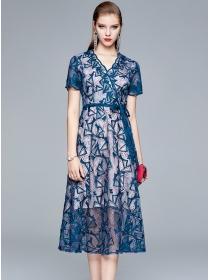 Retro Europe Tie Waist V-neck Embroidery A-line Dress