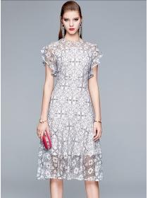 Pretty Fashion Flouncing Sleeve Flowers Lace A-line Dress