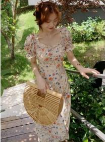 Preppy Fashion Square Collar Flowers Puff Sleeve Slim Dress