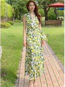 Charming Korea V-neck Flowers Tank Long Dress