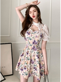 Pretty Lady Lace Collar Puff Sleeve Flwoers Dress