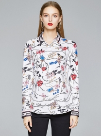 Fashion New Flowers Shirt Collar Long Sleeve Blouse