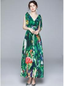Summer Fashion V-neck Flowers Chiffon Maxi Dress