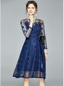 Europe Summer Round Neck Lace Flowers A-line Dress