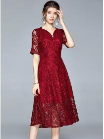 Modern Lady Beads V-neck Short Sleeve Lace Long Dress