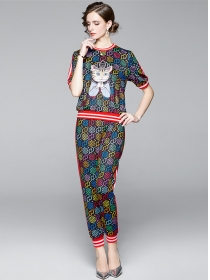 Street Fashion Cartoon Cat Stars Printings Long Suits