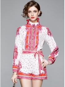 Retro Fashion Tie Waist Flowers Stand Collar Short Suits