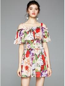 Pretty Lady Flouncing Boat Neck Flowers Short Dress
