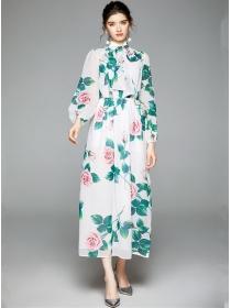Charming Autumn Tie Collar Flowers Chiffon Maxi Dress