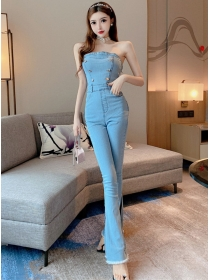 Modern Lady Double-breasted Strapless Skinny Denim Jumpsuit