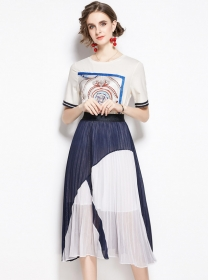 Summer New Round Neck Printings Pleated Dress Set