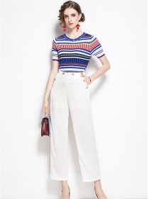 Europe New Stripes Knitting T-shirt with Wide-leg Cropped Pants