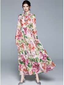 Modern Lady High Waist Flowers Chiffon Maxi Dress