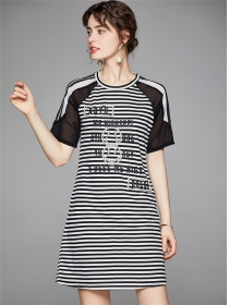 Wholesale Europe Beads Letters Stripes A-line Dress