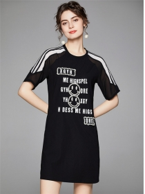 Summer New Beads Letters Round Neck Short Sleeve Dress