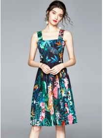 Bohemia Fashion Pleated Flowers Straps A-line Dress