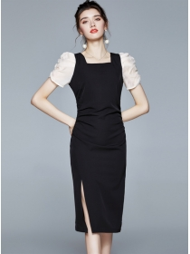 Modern OL Square Collar Puff Sleeve Split Bodycon Dress