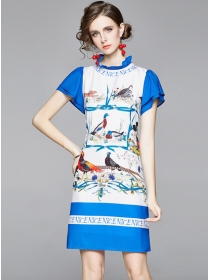Summer Fashion Birds Printings Short Sleeve A-line Dress