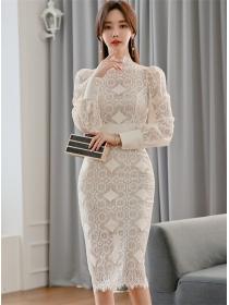 Elegant Lady High Waist Lace Slim Puff Sleeve Dress
