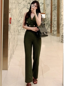 Vogue Lady Double-breasted V-neck Tank Long Jumpsuit
