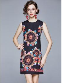 Wholesale Retro Round Neck Wheels Printing Tank Dress