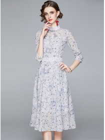 Europe Grace High Waist Lace Flowers Embroidery Long Dress