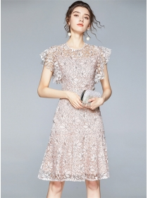 Elegant Lady Fitted Waist Lace Flowers Fishtail Dress