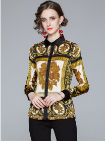 Europe Wholesale Flower Printings Long Sleeve Blouse