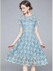 Pretty Fashion Round Neck Lace Flowers A-line Dress