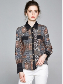Autumn New Fashion Leopard Long Sleeve Blouse