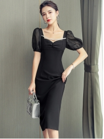 Modern New Beads Square Collar Puff Sleeve Bodycon Dress