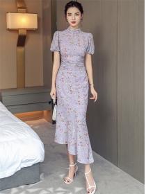 Lovely Fashion High Waist Flowers Fishtail Slim Dress Set