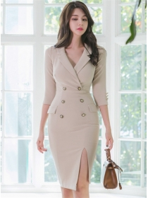 Modern Lady Double-breasted Tailored Collar Slim Dress